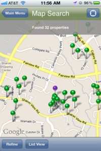 The green pins show you all the active listings near you.  The black show solds.