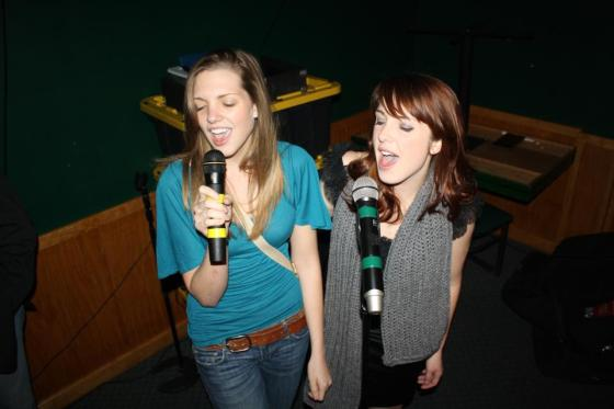My sister and I singing at karaoke